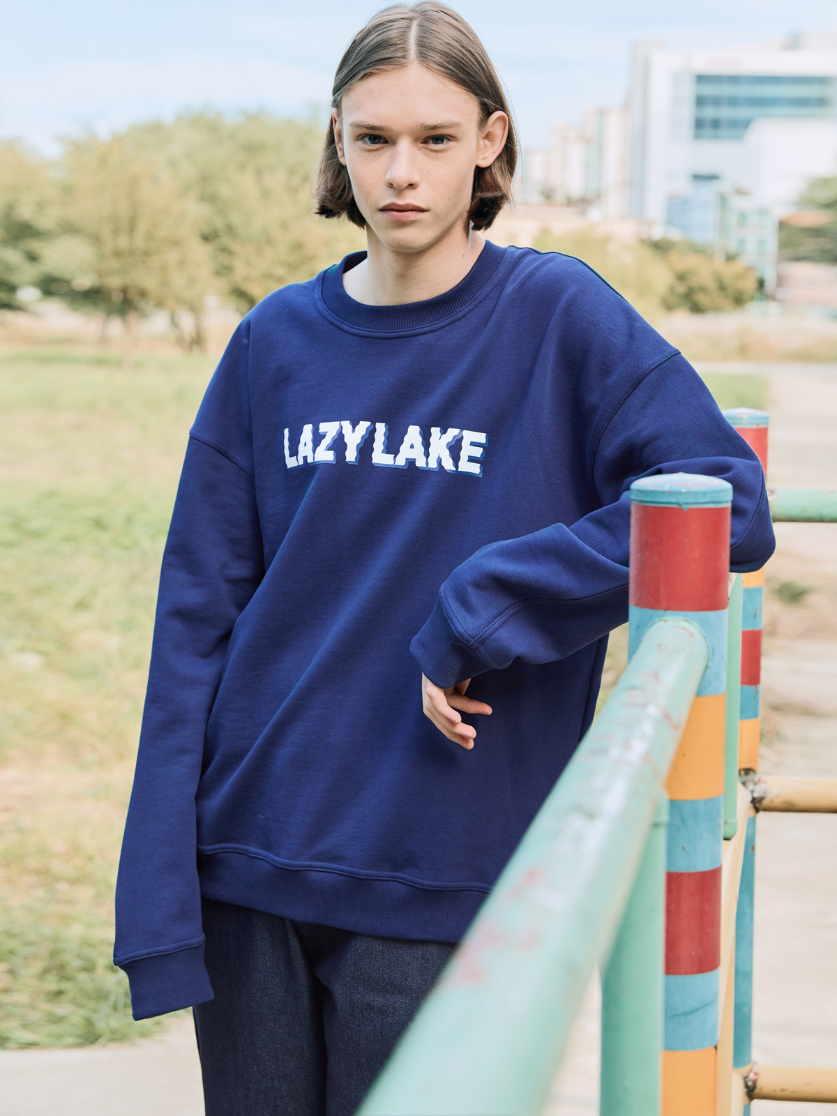 Wavy Logo Sweat shirts NAVY