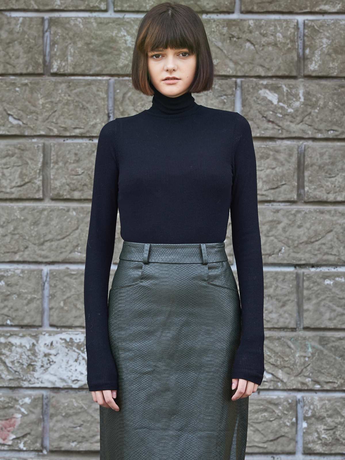 Stretch Turtleneck Black