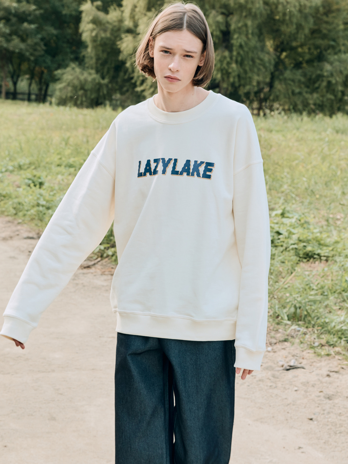Wavy Logo Sweat shirts IVORY