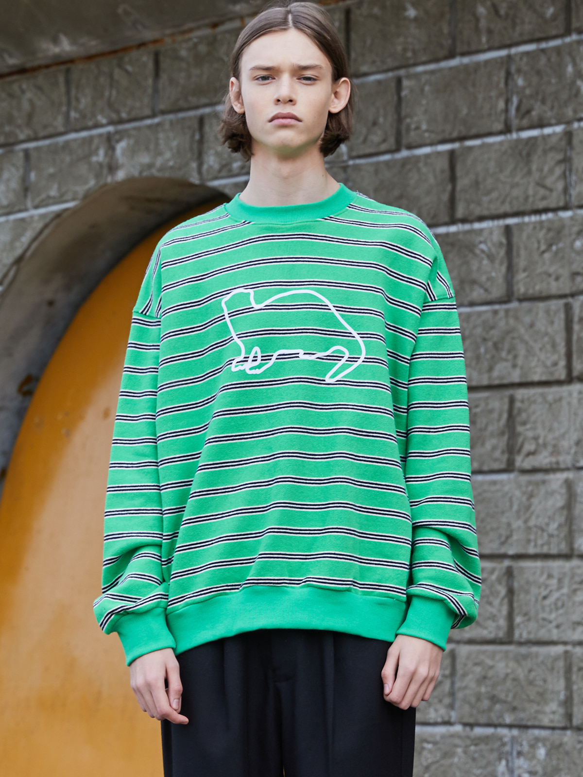 Stripe Knit Sweat shirts GREEN
