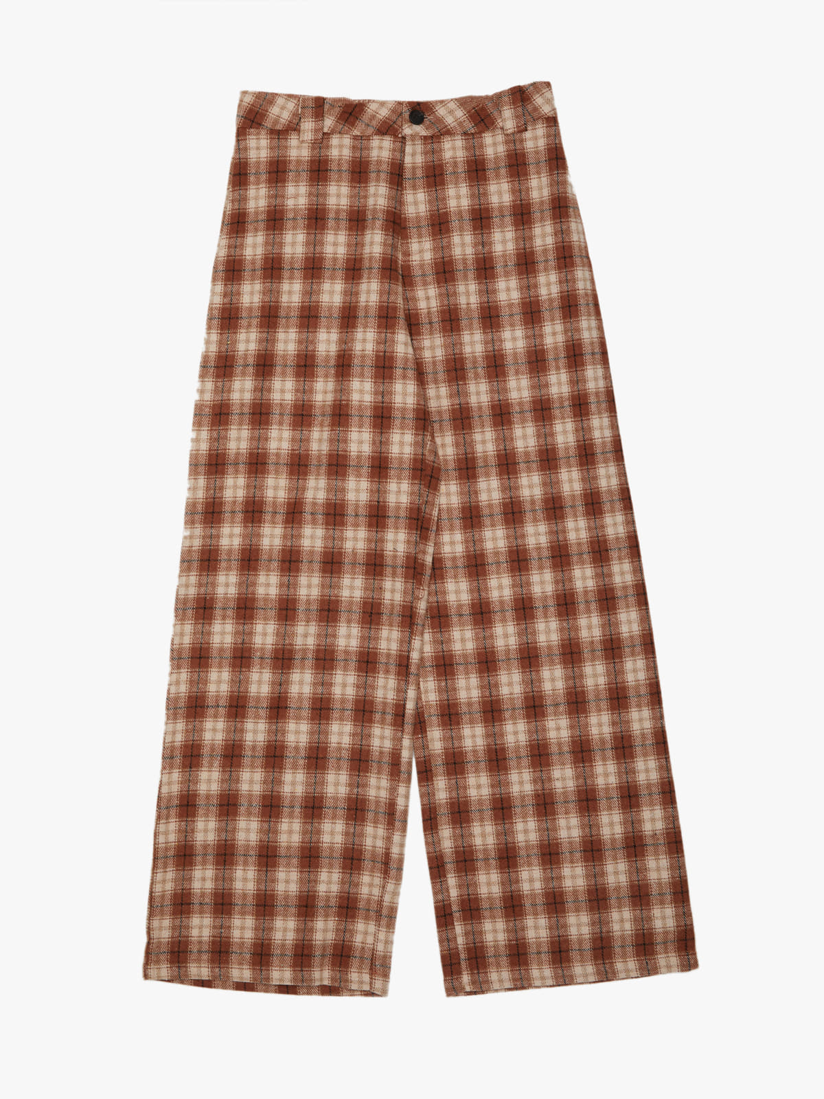 Warming Check pants Brown