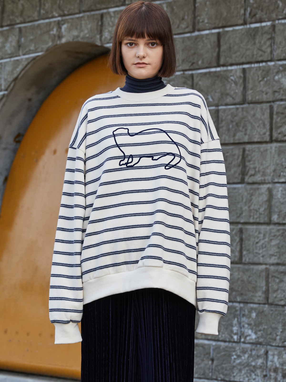 Stripe Knit Sweat shirts IVORY