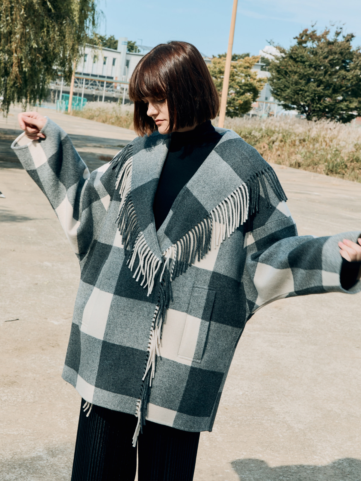 Fringe Wool Check Coat
