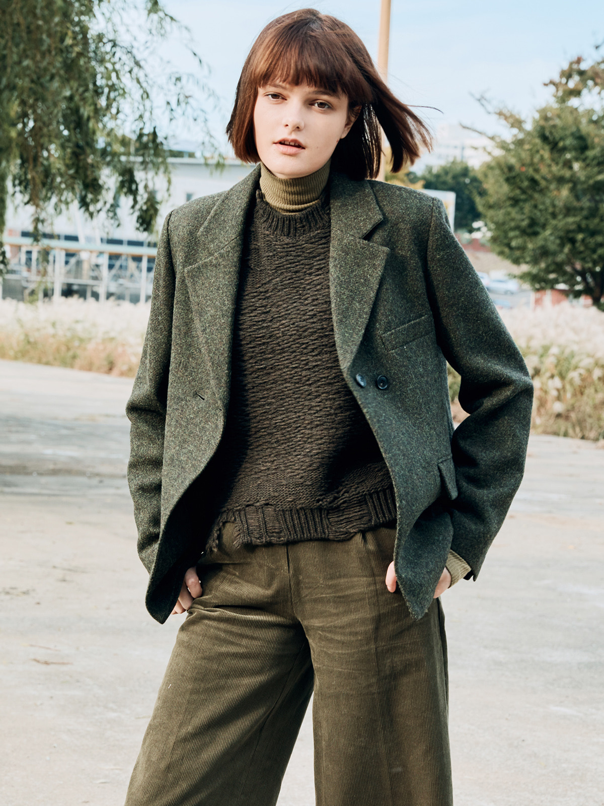 Wool  Tailored Jacket  Khaki