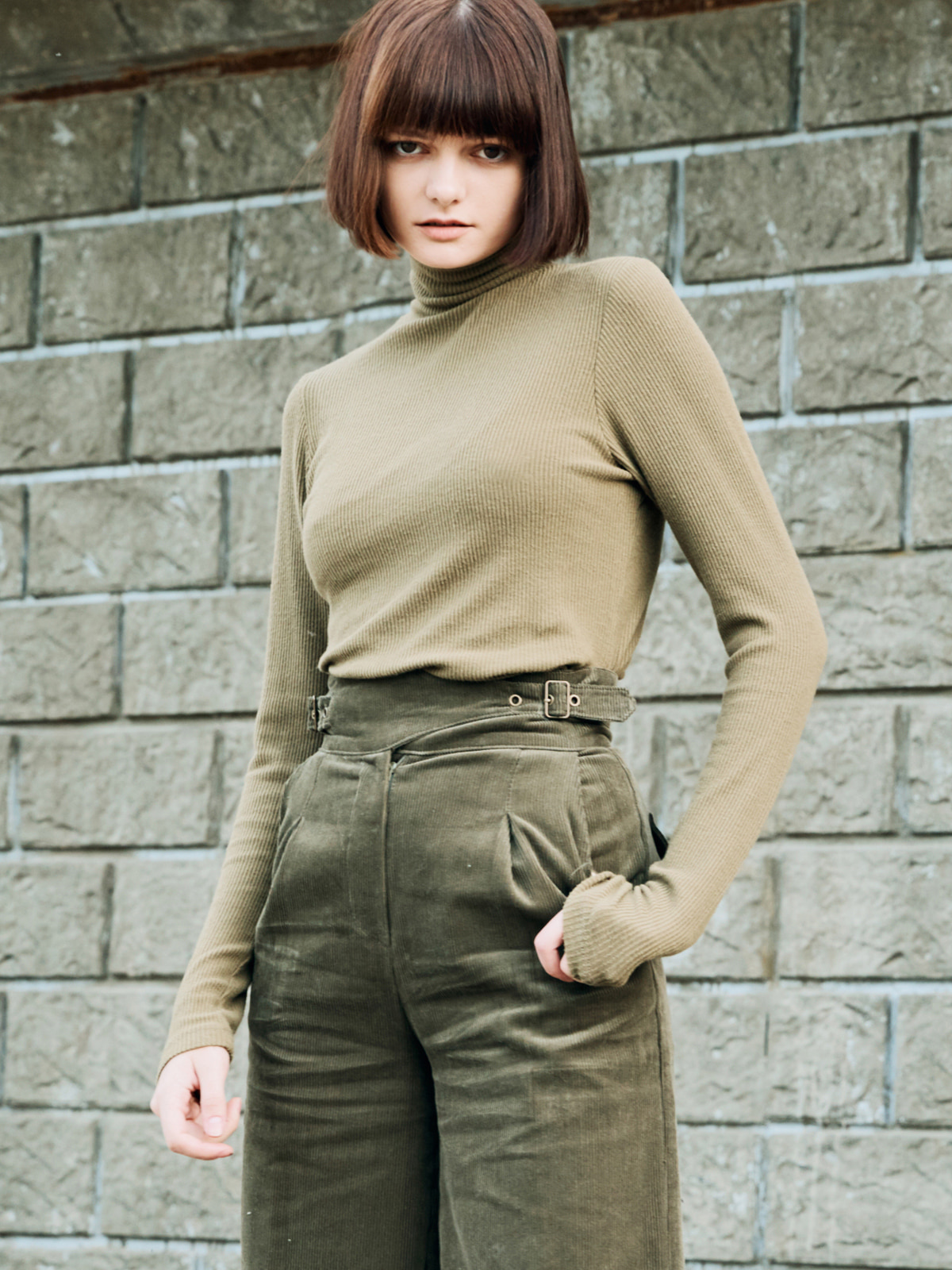 Stretch Turtleneck Khaki