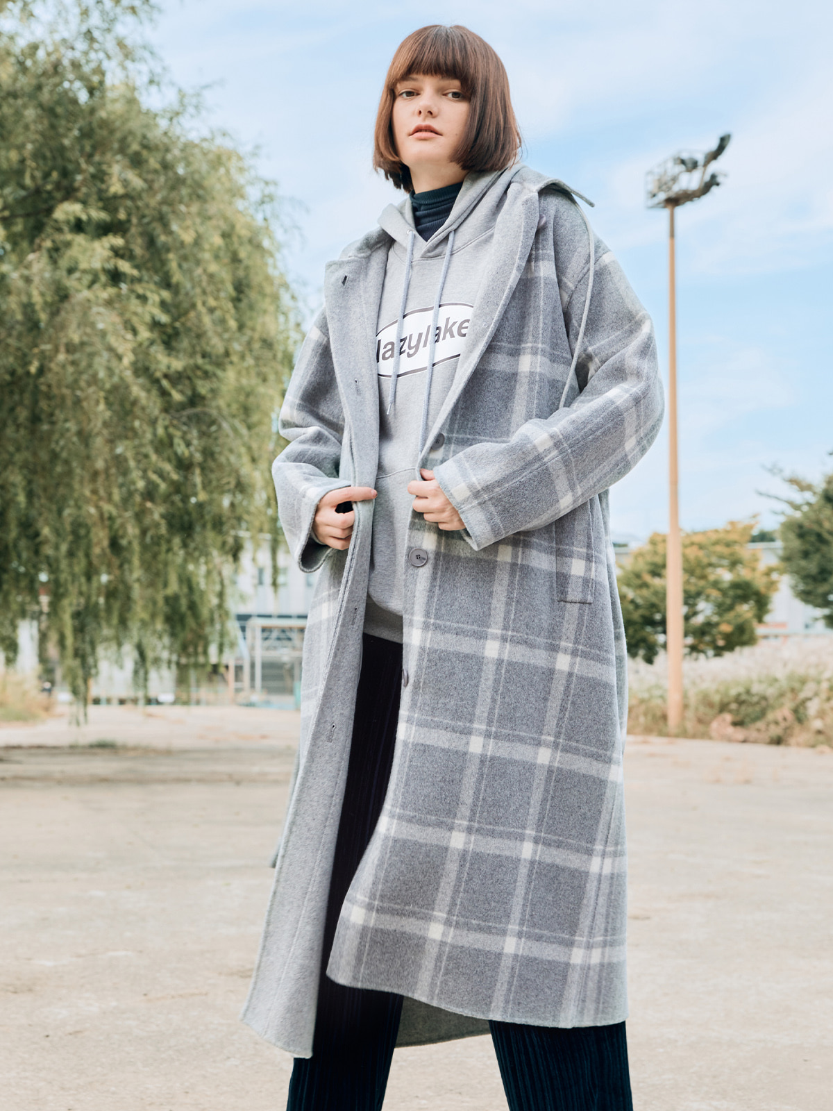 Hoodie Long Check Coat Gray
